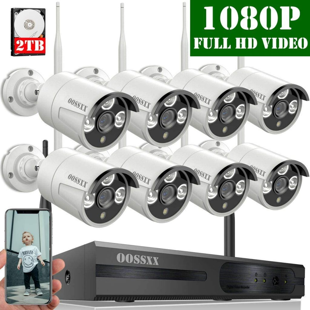 OOSSXX 8-Channel HD 1080P Wireless Security Camera System