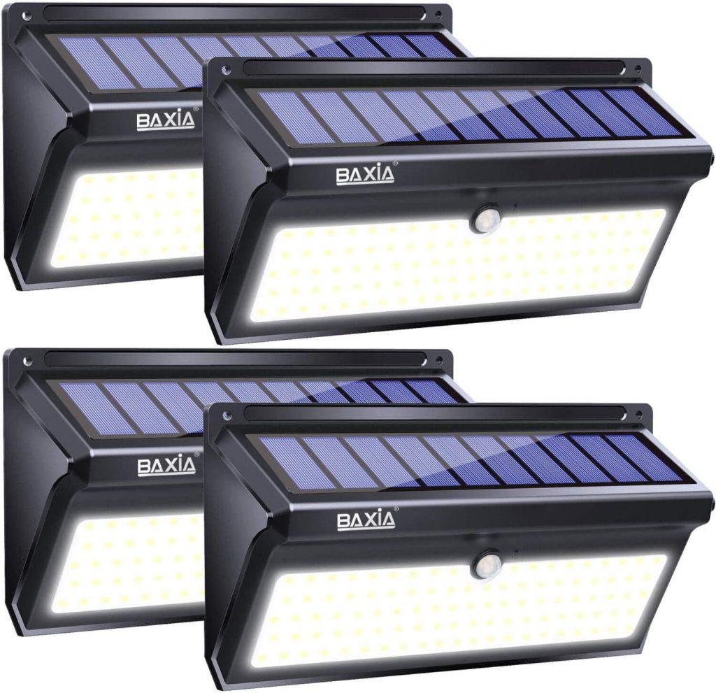 BAXIA TECHNOLOGY Solar Lights Outdoor, Wireless 100 LED Solar Motion Sensor Lights
