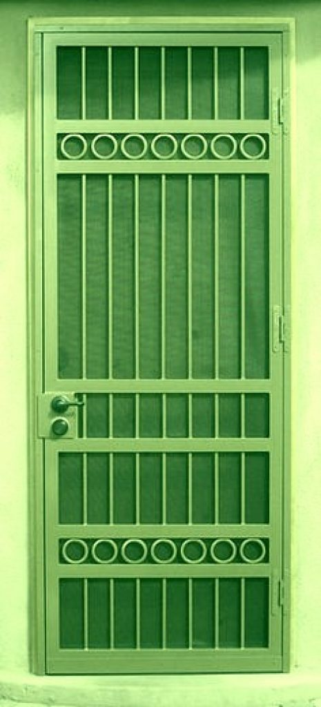 Grille for securing door glass